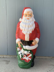 """Vintage Empire 46"""" Blow Mold Giant Santa Green Toy Sack Christmas Lighted. Nice"""