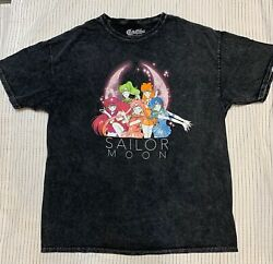Sailor Moon Official Menand039s Grey Acid Washed A Time Guardians T-shirt