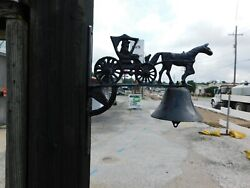Antique Wall Mount Cast Iron Dinner Bell With Horse And Buggy / Carriage