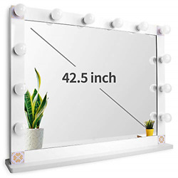 Nitin Hollywood Style Lighted Vanity Mirror Tabletop Makeup Mirror With Dimmer