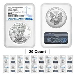 Lot Of 20 - 2021 P 1 Oz Silver American Eagle Ngc Ms 70 Er Emergency