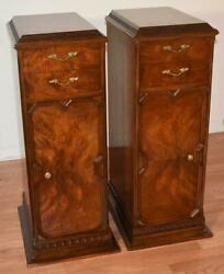 1910s Antique West Michigan Furniture Co. French Burl Walnut Lingerie Stand Pair
