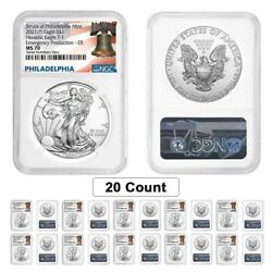 Lot Of 20 - 2021 P 1 Oz Silver Eagle Ngc Ms 70 Er Liberty Bell Emergency