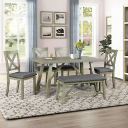 6pcs Wood Dining Table Set Kitchen Table Set W/tableandbenchand4 Chairs Rustic Style