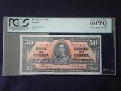 1937 Bank Of Canada 50 Bc-26c Coyne / Towers Pcgs Very Choice New 64