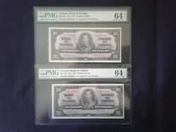 1937 Bank Of Canada 10 Sequential Pair Bc-24b Gordon-towers Pmg Choice Unc 64