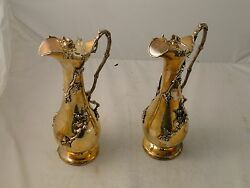 Wine/ Water Jugs Silver Plated Applied Acorn And Vine Circa 1900 Beautiful