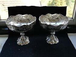 Sterling Silver Dishes Chased Engraved And Marked London 1907 Good Condition