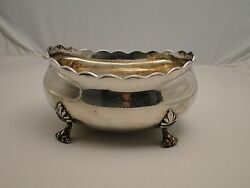 A Large Sterling Silver 800 Italy, Arts And Craft Bowl Hammered Marked 1940 Italy
