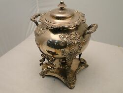 Silver Plated Tea Kettle/ Samovar/urn England 1850 Applied Grape And Vine With Tap