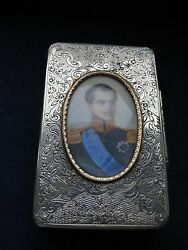 Sterling Silver Box, With Miniature Marked Spanish 1860/80 Beautiful Engraving