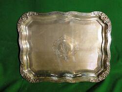 Silver Plated Antique Tray Large Size Victorian Square And Fancy Border C- 1860