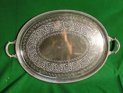 Large Tray Silver Plated English Cast Border Engraved Face 1870 Marked