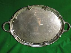 Large Tray Silver Plated English Cast Border Engraved Face 1880 Fancy Style