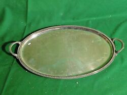 Silver Plated Antique Tray, Medium Size, Victorian Oval And Fancy Border C- 1880
