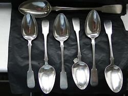 Canadian Sterling Silver Table Spoons And Serving Spoon C 1840 Montreal/ Quebec