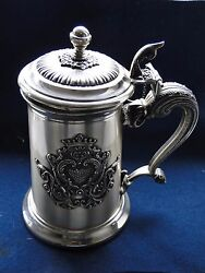 Sterling Silver Beer Stein , Italy, 1950, Cast Handle Applied Crest, Marked