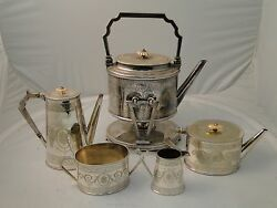 Victorian 5 Piece Tea And Coffee Set Silver Plated Can Shaped Engraved Marked