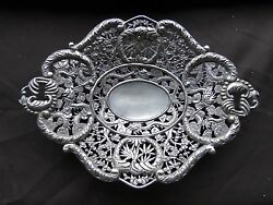 Chinese Dish, Sterling Silver, Miniature, Chased, Engraved Circa 1840 Marked