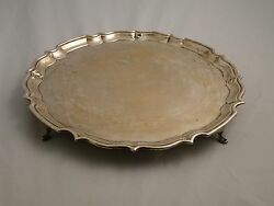 Large Sterling Silver Salver Chester 1918 Simple Design Great Quality / Marks