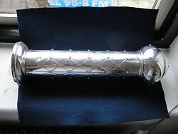 Sterling Silver Scroll Holder Israel 1990 Engraved And Applied Miniature Flowers