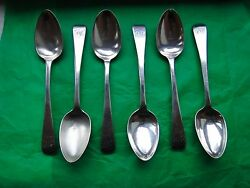 Teaspoons, Set Of Six Sterling Silver London, 1811 Maker Tw And Jh Antique Marked