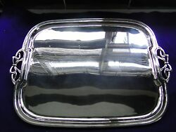 Tray Sterling Silver Art Nouveaux Bow Handles 1940, Marked, Medium Sized