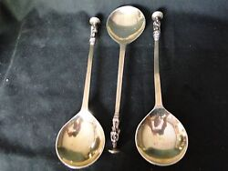 Set Of 3 Antique Sterling Silver Apostle Spoons, Marked W, German, C 1850 Gilt