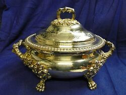 Soup Tureen, Old Sheffield, Made Circa 1840, Chased Engraved,