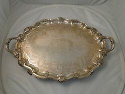Large Tray Silver Plated Circa 1840 Antique Beautifully Engraved Old Sheffield