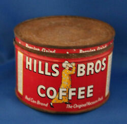 Vintage Hills Brothers One-pound Tin Coffee Can With Matching Slip Lid