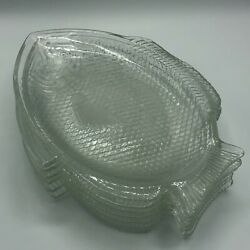"""Vintage Set 6 Clear Pressed Glass Fish Shaped Dinner Plates 11 X 8"""" Nautical"""