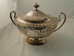 Soup Tureen Silver Plate Rare English C-1865 Handmade And Finished