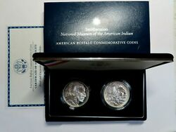 2001 Proof And Unc Commemorative 2 Coin Buffalo Silver Dollar Set With Box And Coa