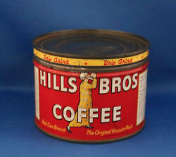 Vintage Hills Brothers One-half Pound Tin Coffee Can With Matching Slip Lid