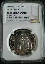Greece 500 Drachmes 1993 Silver Coin 2500th Anniversary Of Democracy Ngc Pf70