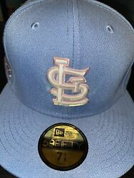 7 1/4 St. Louis Cardinals Sky Blue 2011 World Series Pink Bottom Fitted Hat