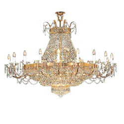 Gold Crystal Chandelier Large Chrome Hanging Lamp French Empire Pendant Light