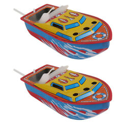 2 Pieces Collectible Candle Powered Steam Boat Tin Toy Vintage Style Floating