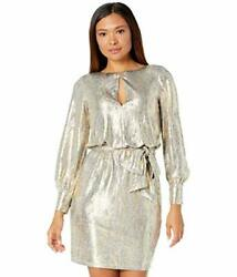 Vince Camuto Womenand039s Metallic Knit Dress With Belt - Choose Sz/color