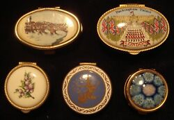 Qty 5 - Vintage Brass - Trinket / Jewelry Boxes With Hinged Lids