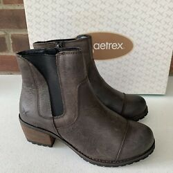 Aetrex Iron Cap Toe Ankle Boots Brown Leather Women's Size Us 5-5.5 Eu 35 New