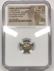 Ionia Uncertain Mint 650 Bc El Third-stater Cluster Of Pellets Ngc Ancients Xf