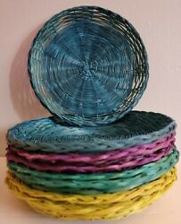 Vintage Retro Wicker Paper Plate Holders Color Rattan Picnic Bbq Camping Lot 8