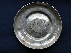 Memento Dish With A Coin Middle, Sterling Silver Made In Middle East Antique
