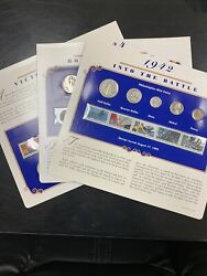 Rare 3 X Postal Commemorative Society - Wwii U.s. Silver Coin And Stamp Panels