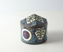 19th Century French Bronze Champleve Enamel Box, With Hinged Lid, Wood Bottom