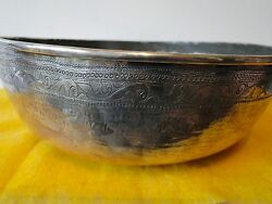 Middle East Dish Sterling Silver C 1850, Antique Rare, Engraved Thick Guage