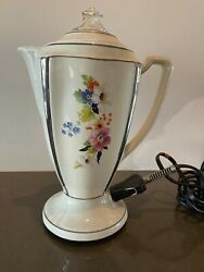 Vintage Floral Percolator Electric Coffee Pot With Cord And Coffee Filter Holder