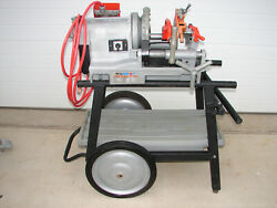 Ridgid 300 Compact Pipe Threader Threading Machine With 92462 Wheel And Tray Stand